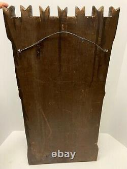 Carved Architectural Panel Mounted Knight & Castle 25 Decorative Wood Salvage