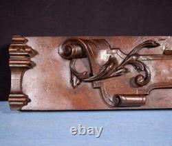 Carved Architectural Trim Panel in Solid Walnut and Oak Wood Salvage