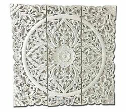 Carved Wood 40 L x 40 W Triptych Wall Panel White