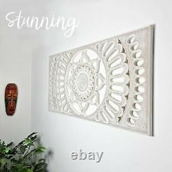 Carved Wooden Mandala Wall Art Lotus Bed Headboard Panel Distressed White