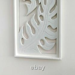 Carved Wooden Wall Art Large Decorative Nature Leaf White Panel