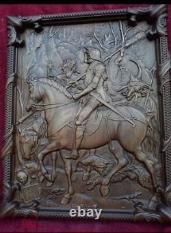 Carved panel DURER Knight, Death and the Devil NATURAL WOOD SOLID Beech