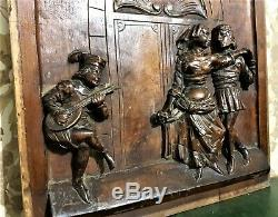 Castle danse scene wood carving panel Antique french architectural salvage
