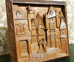 Castle medieval scene wood carving panel antique french architectural salvage
