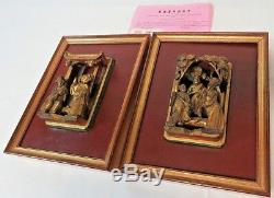 Certified Antique Pair of Carved Gilt Wooden Panel Chinese Figures Circa 1850