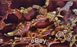 China 19. Jh. Rotlack vergoldet carved gild wood relief panel Schnitzrelief