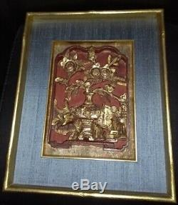 China 19. Jh. Rotlack vergoldet carved gilded wood relief panel Schnitzrelief