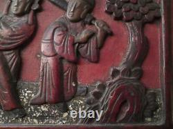 Chinese Carved Figure Scene Wax Seal Wood Lacquer Panel mother of pearl inlay