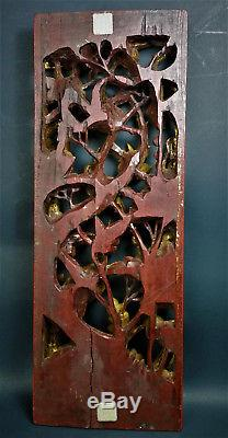 Chinese Carved Wooden Cabinet Panel Gilt Golden Antique Birds Peony Blossoms