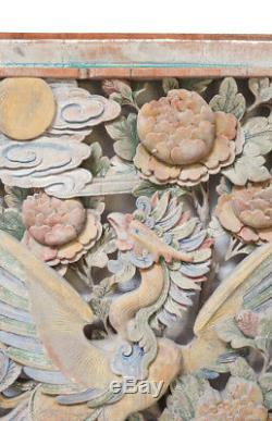 Chinese Hand Carved Polychrome Painted Panel, Deeply carved Phoenix bird flowers