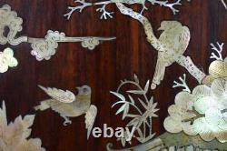 Chinese Vietnamese Carved Wood Mother of Pearl Inlaid Wall Panel 19th. C Asian