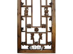 Chinese Vintage Rectangular Wood Floral Carving Wall Panel cs2240