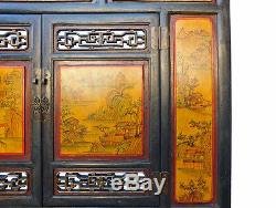 Chinese Vintage Yellow Scenery Carving Wall Panel Screen cs1986
