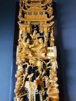 Chinese Wood Carved Plerced Glit Temple Panel Of Warriors On Horses