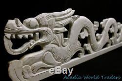 Cosmic Dragon Naga Panel Whitewash Rustic carved wood Bali Wall Art left 39