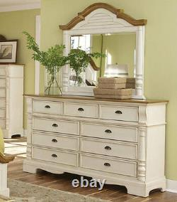 Cottage Brown & White Finish 5 pieces Bedroom Set with Queen Size Panel Bed IA7M