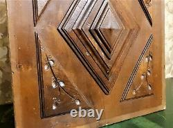 Decorative diamond point wood carving panel Antique french architectural salvage