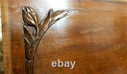 Decorative flower walnut wood carving panel Antique french architectural salvage
