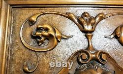 Devil griffin scroll wood carving Panel Antique French architectural salvage