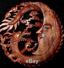 Dragon & Crescent Moon Wall Art Plaque Panel Hand Carved Balinese Wood 11.5