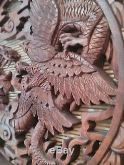 Dragon and Phoenix Wood Carving Panel Bali Powerful Auspicious Strength
