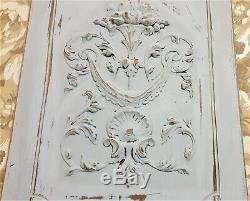 Drapery scroll leaf wood carving panel Antique french architectural salvage