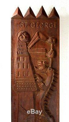 EVELYN ACKERMAN 1959 St. George & The Dragon WOOD CARVED BAS-RELIEF ART PANEL
