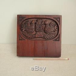 Evelyn Ackerman Swedish Folk Art Birds Carved Wood Panel Plaque MCM Modernist
