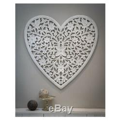 Extra Large Hand Carved White Mango Wood Art Heart Wall Panel Decoration