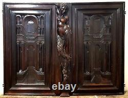 Faunesse architecture wood carving panel Antique french architectural salvage