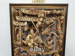 Fine Framed Chinese 19th Century Pierced Carved Wood Gold Gilt Panel Plaque