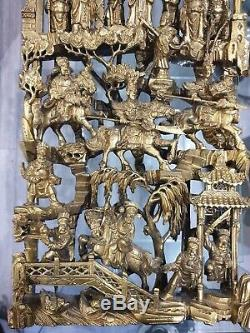 Fine Large Chinese Qing Period Pierced Carved Wood Gold Gilt Panel Plaque