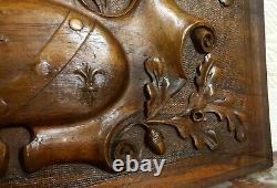 Fleur de lis oak leaf wood carving panel antique french architectural salvage