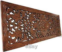 Floral Carved Wood Wall Panel. Teak Wood Wall Decor Hanging. Brown-Red Mahogany