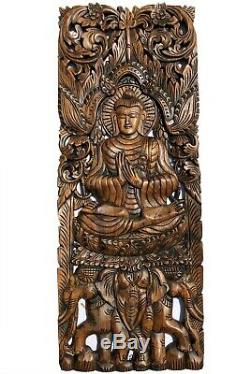 Floral Motif with Buddha Wall Art Panel. Large Carved Wood Decor Panels. Set of 3
