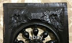Flower spindle blackned wood carving panel Antique french architectural salvage