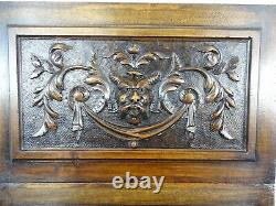 French Antique A Pair of Carved Walnut Wood Panel Gothic -Grotesque Head Faune