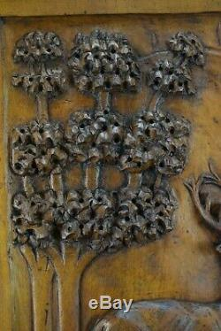 French Antique Architectural Carved Wood Panel Cabinet Closet Door Stag