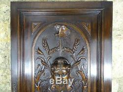 French Antique Architectural Deep Hand Carved Walnut Wood Door Panel Butterfly