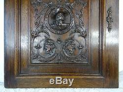 French Antique Architectural Hand Carved Oak Wood Cabinet Door Panel Musketeer