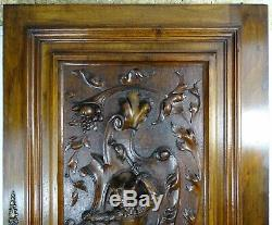 French Antique Architectural Hand Carved Walnut Wood Door Panel Jester+chimera