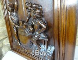 French Antique Architectural Large Deep Hand Carved Walnut Wood Door Panel
