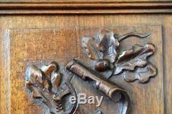 French Antique Architectural Pair of Carved Salvaged Wood Cupboard Door Panel