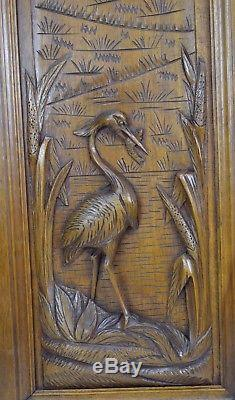 French Antique Carved Heron Bird Wood Cabinet Door Panel Fishing Cabin Decor