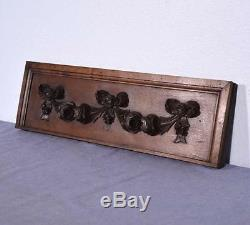French Antique Carved Panel Solid Oak Wood with Roses Salvage