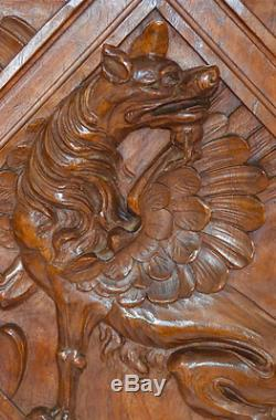 French Antique Carved Salvaged Wood Door Panel Victorian Griffin Chimera
