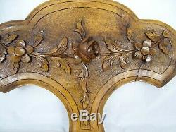 French Antique Carved Walnut Wood Wall Panel Flowers Roses