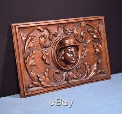French Antique Deep Carved Architectural Panel Door Solid Oak Wood with Face