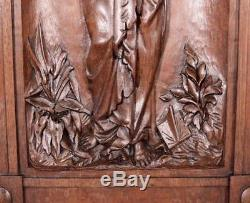 French Antique Deep Carved Architectural Panel Door Solid Walnut Wood Woman