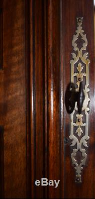 French Antique Deep Carved Architectural Panel Door Solid Walnut Wood Woman Face
